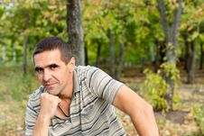 Thoughtful Man With Chin On Hand Stock Images