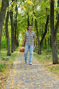 Free Happy Man Carrying Basket Of Apples Stock Photos - 27180653