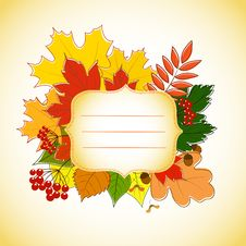 Free Figured Invitation Card With Autumn Leaves Stock Photos - 27183013