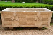 Free Roman Sarcophagus In The Yard Baths Of Diocletian Stock Photos - 27184153