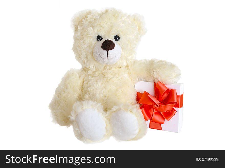 Teddy bear with present box