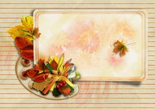 Vintage Background With Autumn Card And Pencils Royalty Free Stock Photos