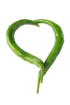 Free Two Green Peppers In A Heart Shape Stock Images - 27191524