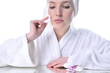 Beautiful Woman Cleaning Your Face Royalty Free Stock Photos