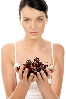 Free Woman With Cherries Stock Image - 27198001