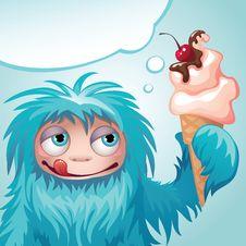 Free Monster Yeti Eating Ice Cream Stock Images - 27199124