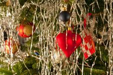 Free Christmas Decoration Balls And Hearts On A Tree Stock Photos - 27199433
