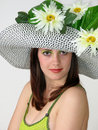 Free Girl With Flowers In Her Hat Royalty Free Stock Photos - 2727168