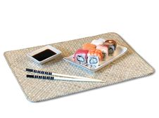 Free Rolls On Bamboo Mat Royalty Free Stock Photography - 2721187