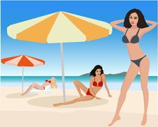 Free Attractive Girls On Beach Royalty Free Stock Photo - 2722075