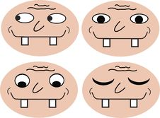 Four Funny Faces Stock Photos