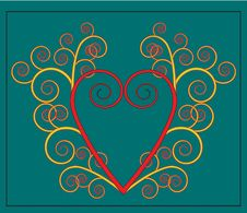 Vector Heart With Flourish Stock Photos