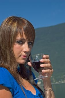 Woman Driking Some Wine Stock Photography