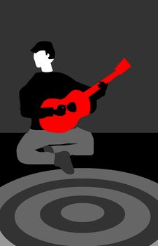 The Red Guitar Royalty Free Stock Images