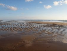 Sand Beach At Low Tide Royalty Free Stock Photo