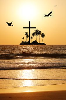 Free Majestic Beach With Island & Cross In The Horizon Stock Photos - 27202403