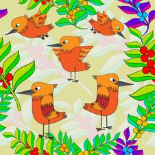 Free Little Birds Sing Songs. Seamless Texture. Royalty Free Stock Photography - 27206997