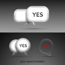 Free Set Of Realistic Glass Speech Bubbles Royalty Free Stock Photos - 27207068
