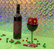 Red Wine In A Holiday Wine Glass