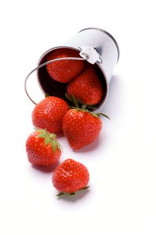 Strawberries Spilled From Bucket Royalty Free Stock Image