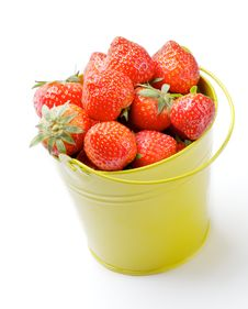 Strawberries Inside Yellow Bucket Stock Images