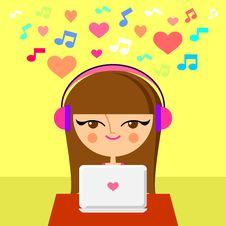 Free Cute Girl Listening To Music Stock Photos - 27215863