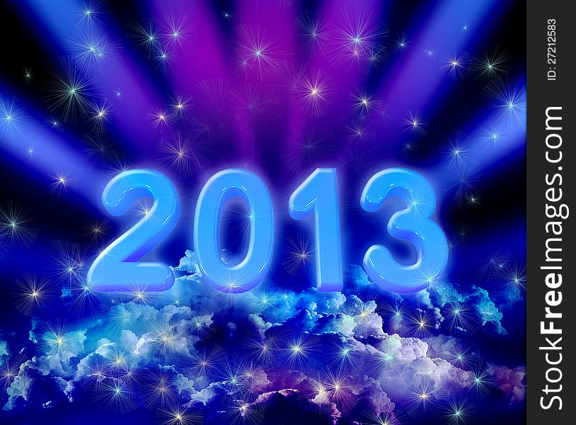 2013 on colorful clouds
