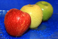 Free Three Colored Wet Apple Royalty Free Stock Photo - 27224035