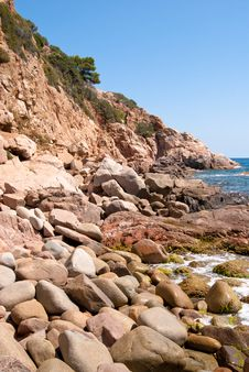 Sunny Beach In Catalonia Stock Images