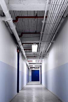 Long Blue Corridor Royalty Free Stock Photo