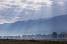 Free Sunrays Cover The Open Fields Of Cades Cove. Stock Photos - 27228843