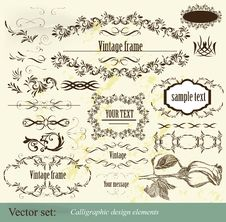 Free Calligraphic Vector Design Elements Royalty Free Stock Photography - 27229447