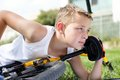 Free Sport Boy And Bike Outside Stock Photo - 27239810