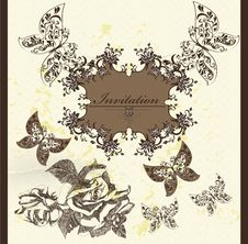 Free Invitation Card In Elegant Vintage Style Stock Photos - 27230053