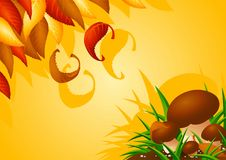 Free Autumn Background With Mushrooms And Leaves Royalty Free Stock Photos - 27231228