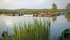 The Lake With Fishing Boats Stock Photo