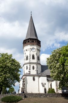 Very Old White Church In Hungary Stock Photo