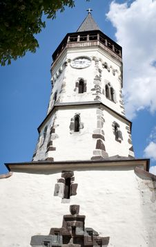Free Very Old White Church Tower Royalty Free Stock Image - 27233996
