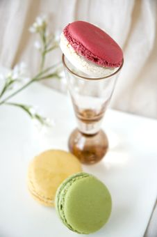 Pink Macaron On Glass Stock Photo