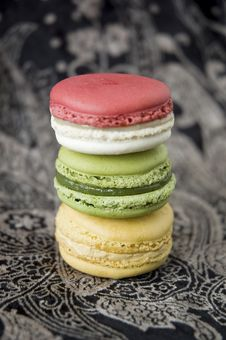 Stack Of Macarons On Black Royalty Free Stock Photos