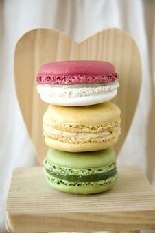Stack Of Macarons On Heart Background Royalty Free Stock Photography