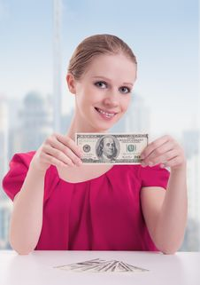 Businesswoman  With Money, Dollars Royalty Free Stock Photography