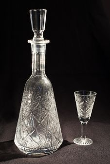 Free Crystal Decanter And Glass Stock Image - 27239641
