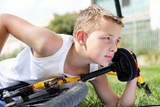 Free Sport Boy And Bike Outside Stock Photo - 27239810