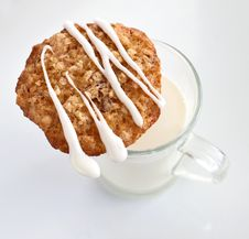 Free Oat Cookie With Milk Stock Images - 27242564