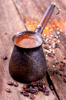 Free Coffee Beans And Vintage Cezve Stock Images - 27244174