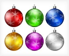 Free Christmas Baubles On White Royalty Free Stock Photos - 27244488