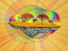 Free Abstract Floating Island With Autumn Trees Royalty Free Stock Photos - 27245108