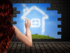 Free Girl Looking At House Of Clouds Stock Photo - 27245180