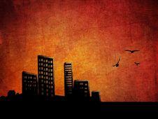 Sunset City Grunge Background